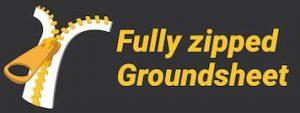 Fully zipped groundsheet