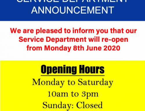 Service Department Announcement